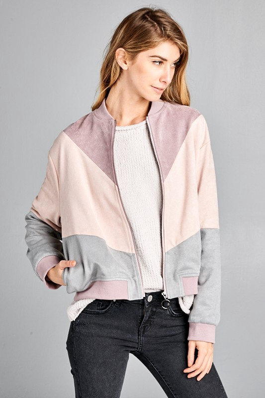 Grey Mauve Color block Bomber Jacket