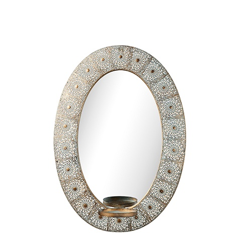 Esmerelda Oval Mirror with Candle Holder