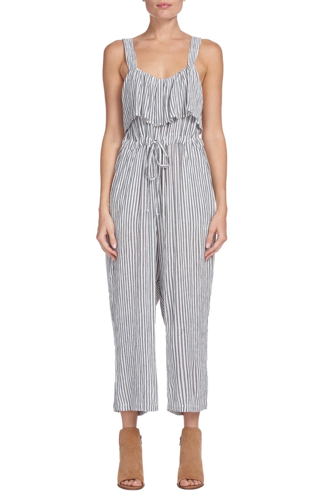 Char/Wht Stripe Jumpsuit w Ruffle Top