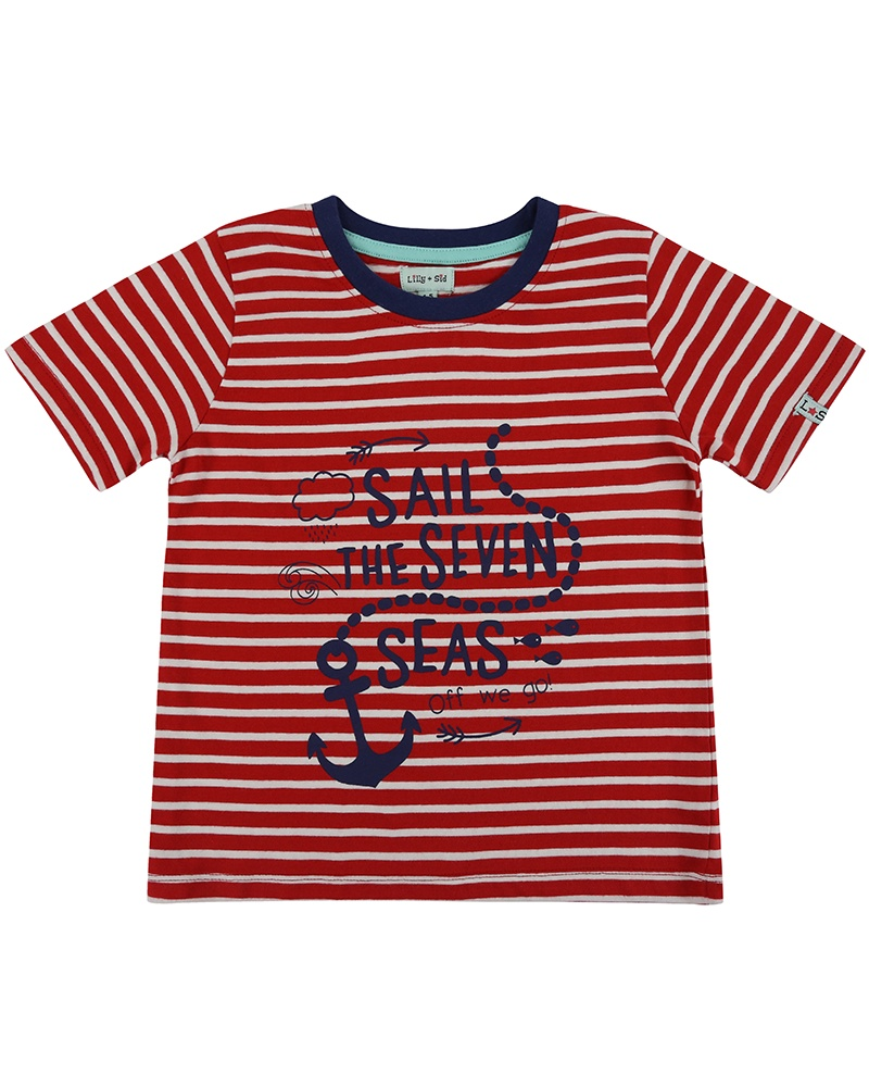 Lilly & Sid STRIPE PRINTED T- NAUTICAL