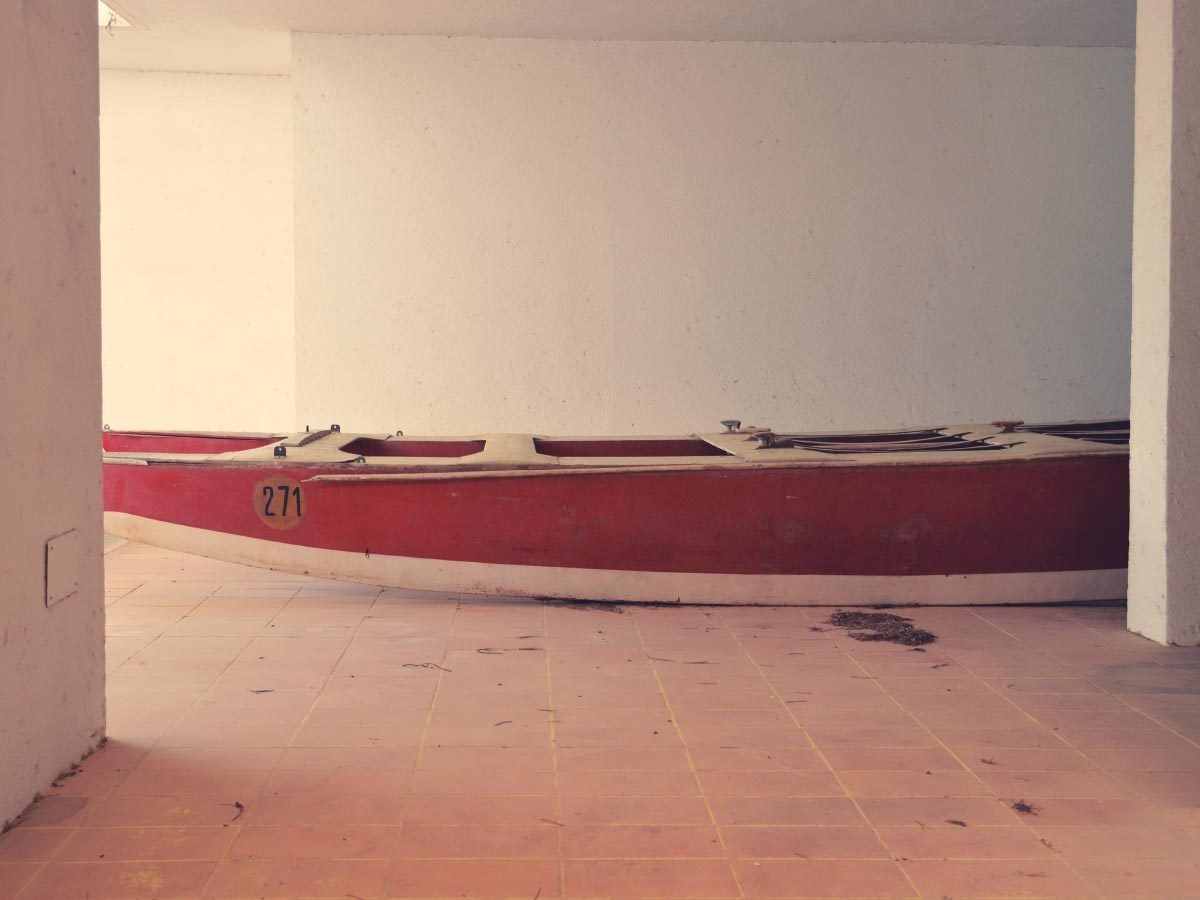 Red Wooden Catamaran
