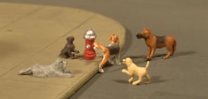 Scene Scapes # 33108  HO Dogs with Fire Hydrant