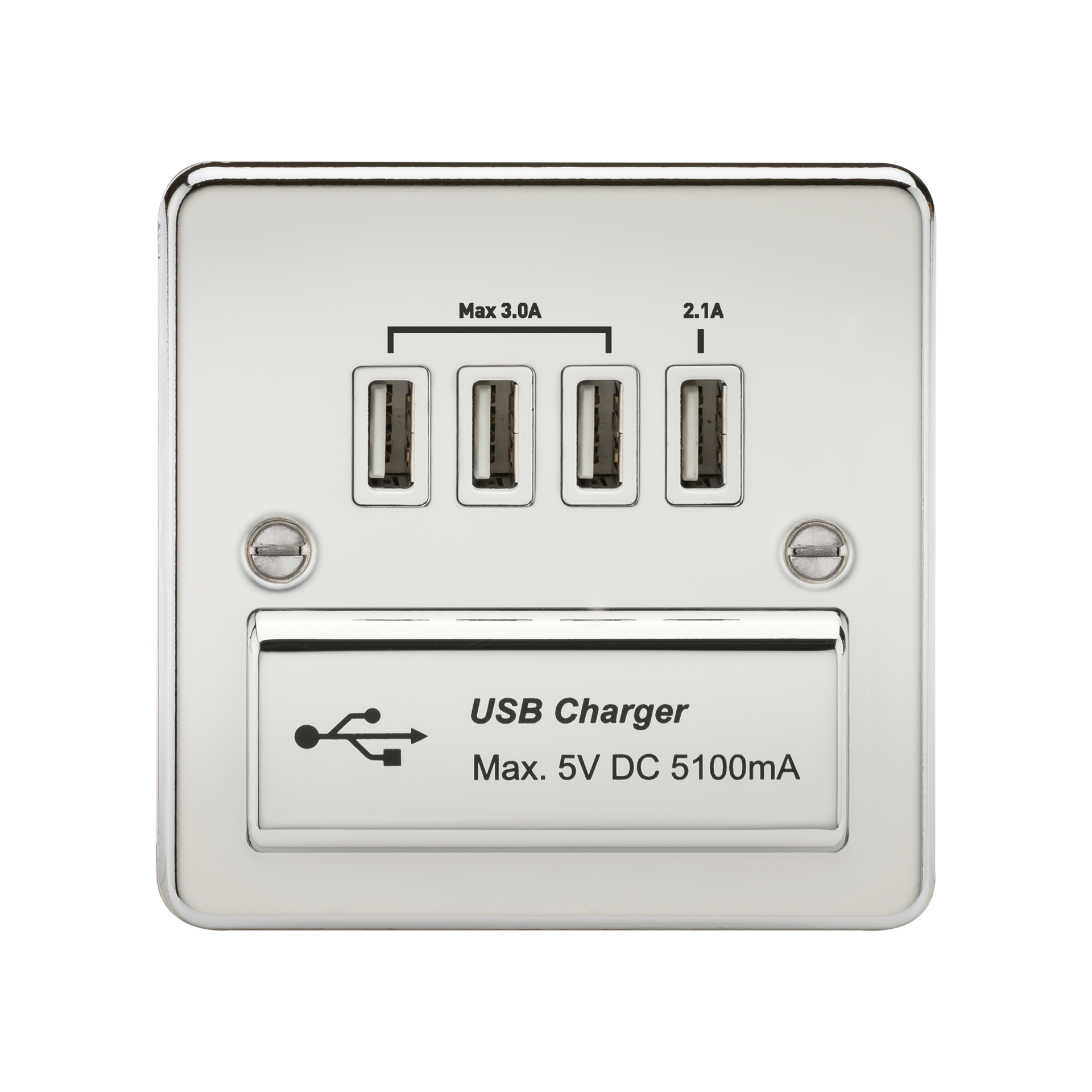 FLAT PLATE 1G QUAD USB CHARGER OUTLET 5V DC 5.1A - POLISHED CHROME WITH WHITE INSERT