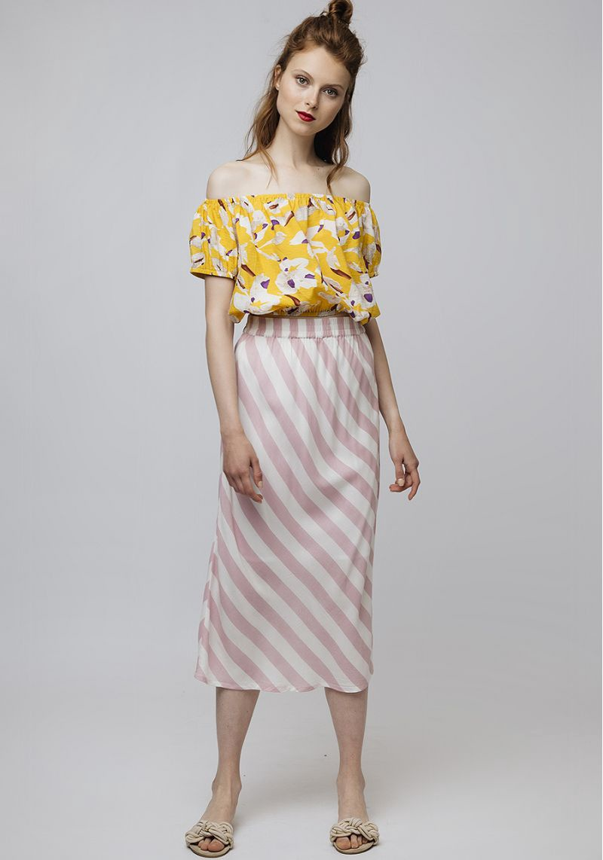 Compania Fantastica Stripe Midi Skirt