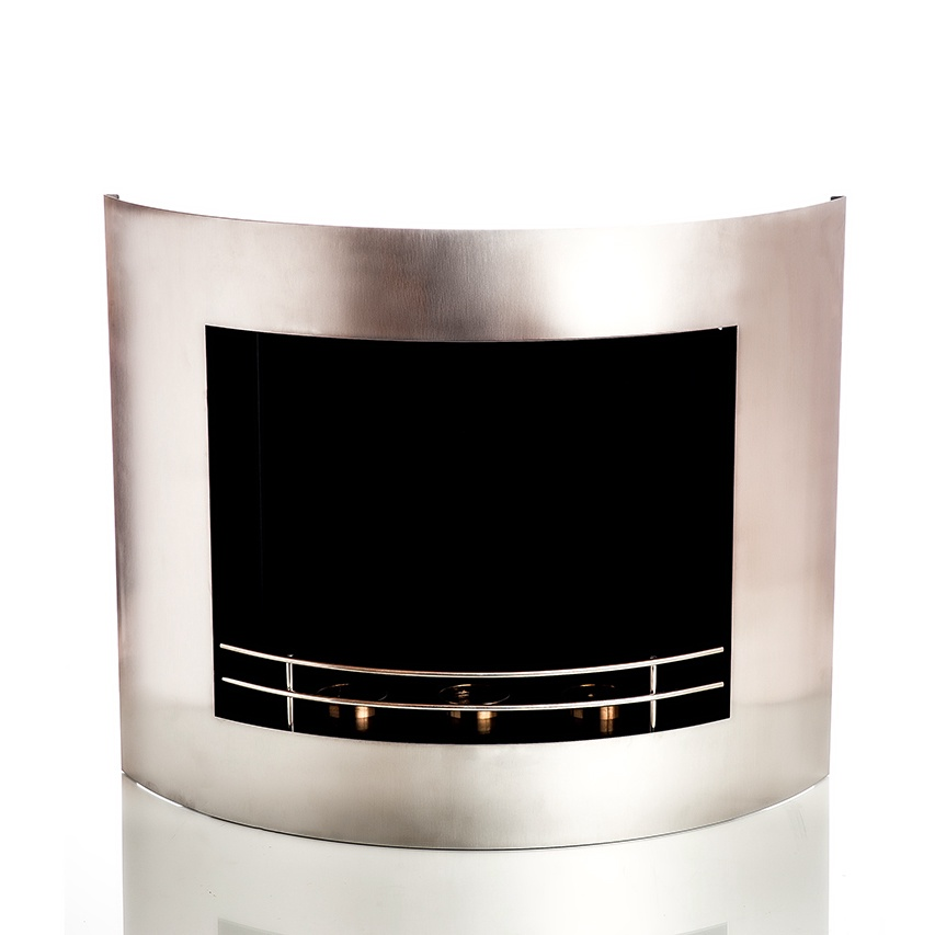 Fireplace Curved Stainless Steel