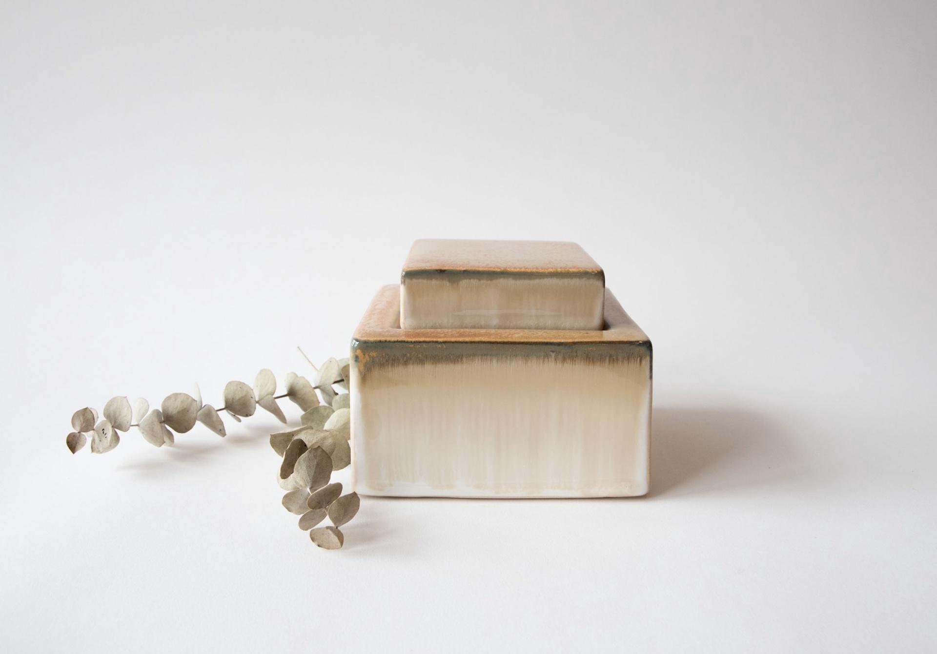 Square Stoneware Jar