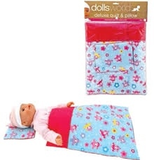 DOLL'S WORLD DELUXE QUILT & PILLOW
