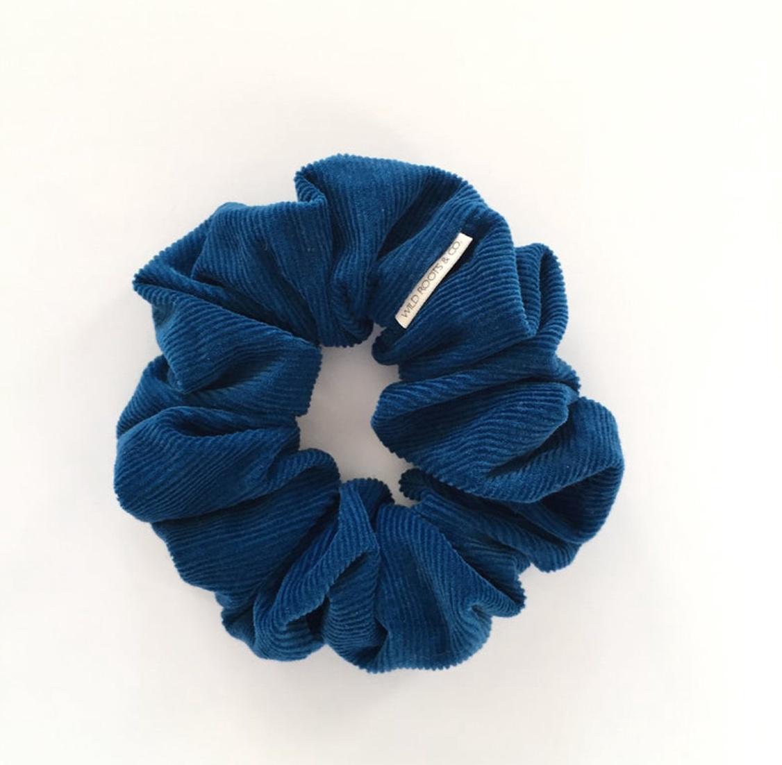 Blue Corduroy Scrunchie
