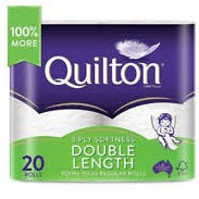 Quilton 3ply Double Length Toilet Tissue 4pk