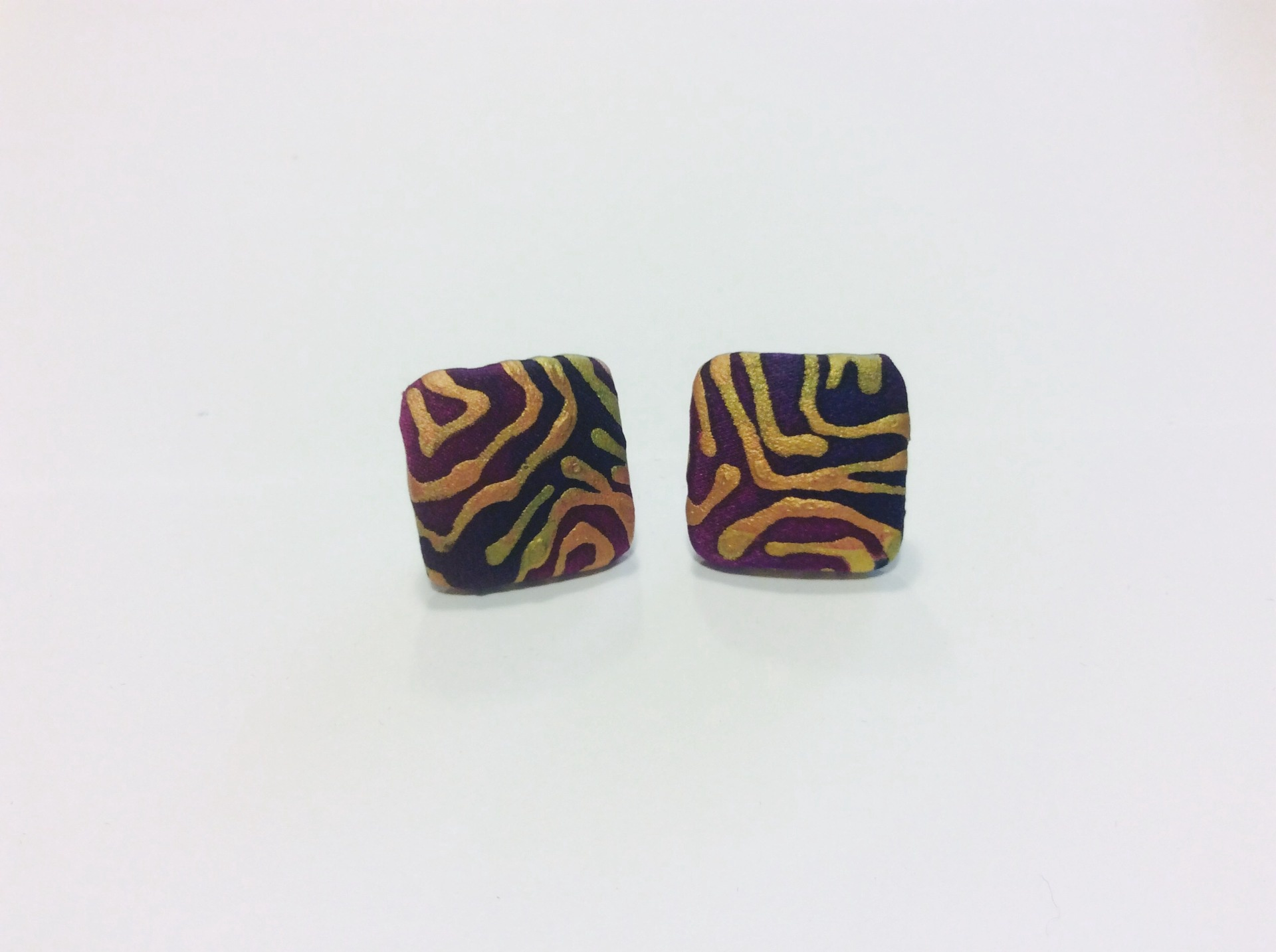 Purple and gold hand painted silk square stud earrings