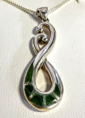 Silver Chain with Silver Greenstone Pendant Boxed - Two Swans