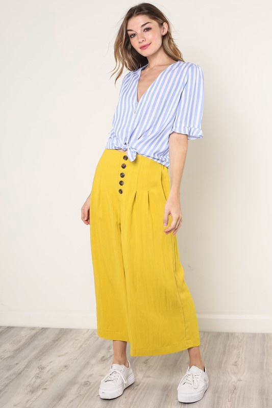 Mustard Button Front Wide Leg Pant