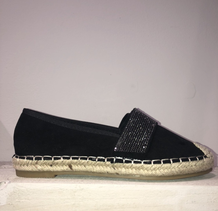 Black Diamante Band Espadrilles
