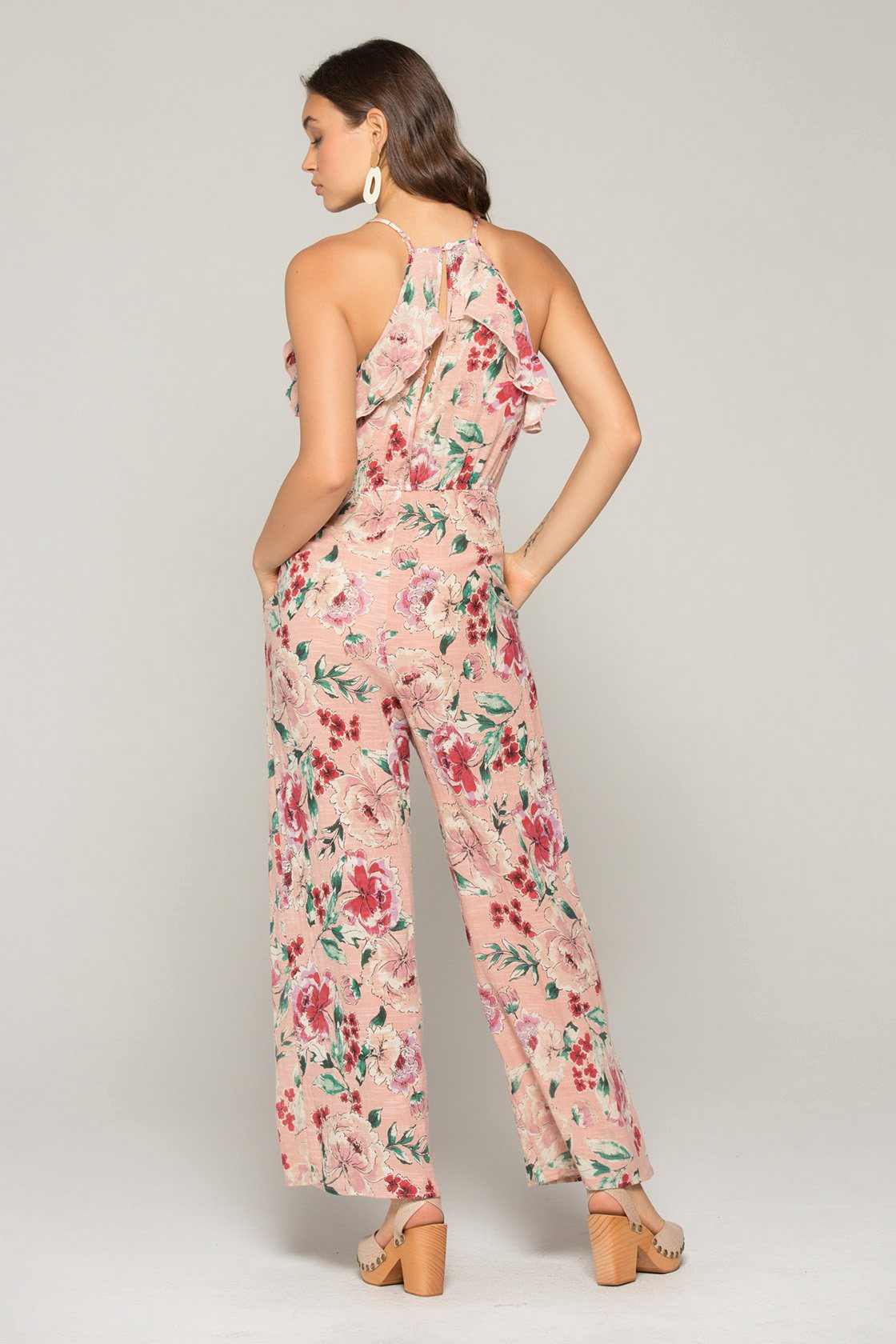 limited guantity exceptional range of styles good texture Pink Floral Jumpsuit w Ruffle