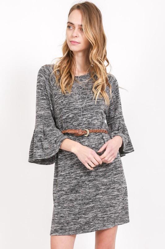 Heather Swtr Dress w 3/4 Bell Slv