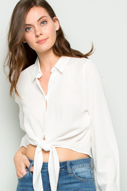 Tie Front Flare Sleeve White Blouse