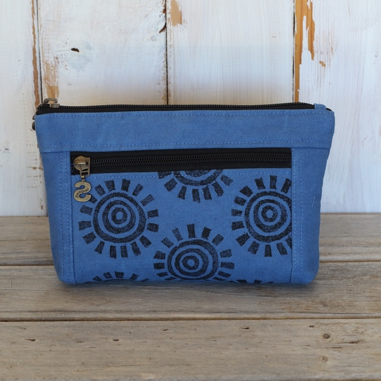 Blue Double Zipped Canvas Pouch