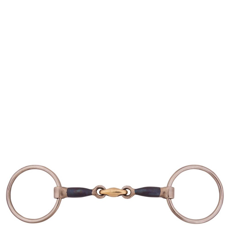BR Double Jointed Loose Ring Snaffle with Sweet Iron