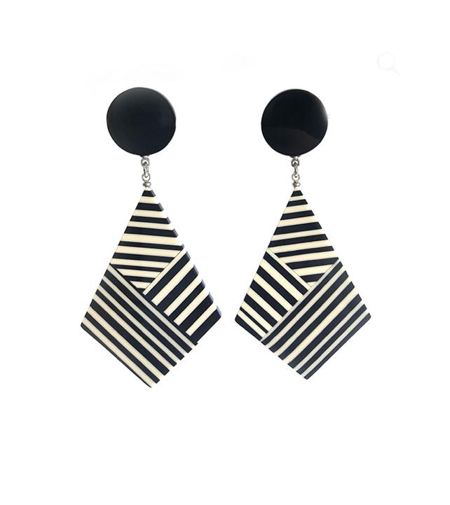 Geo Black & White Drop Earrings