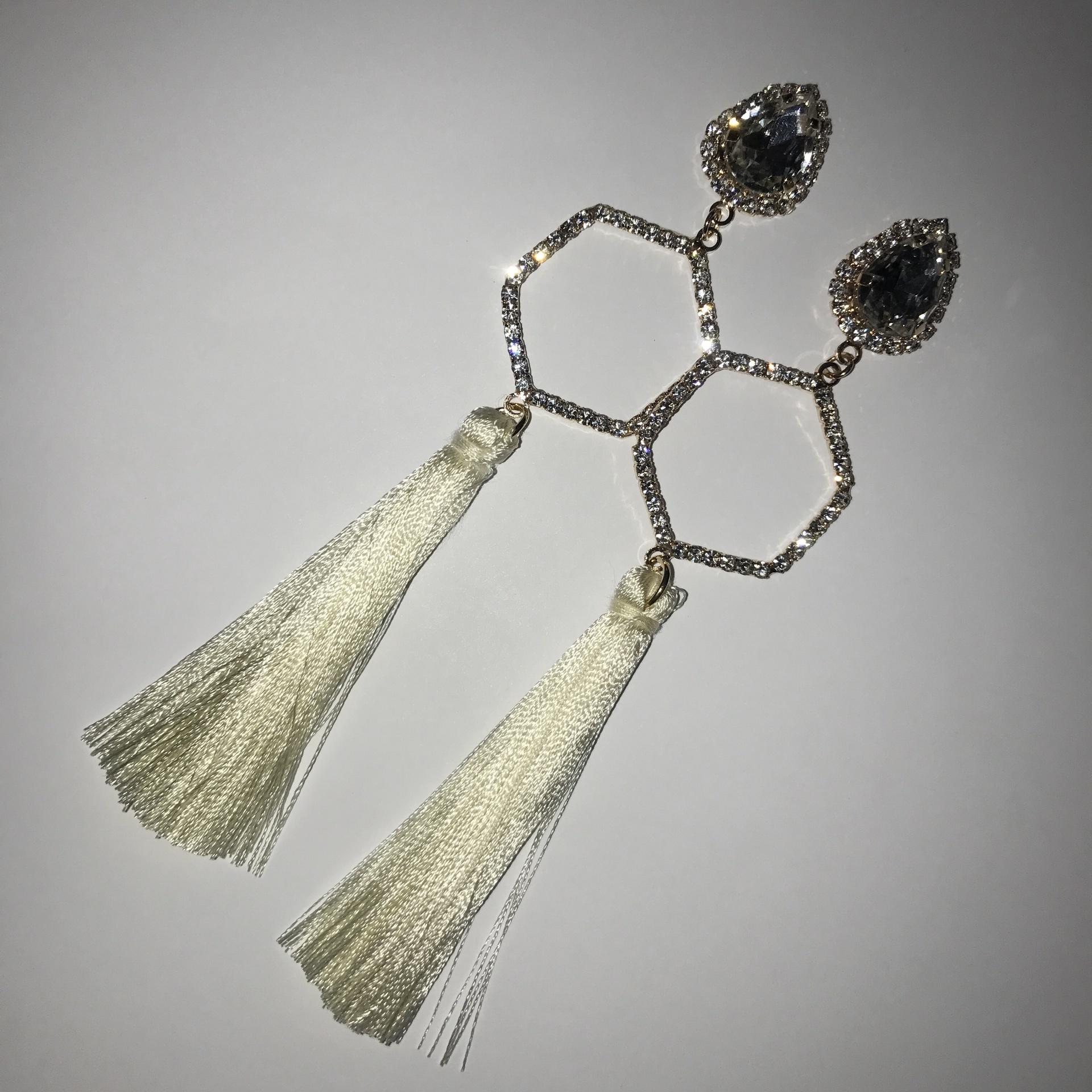 Hexagonal Tassel Earrings