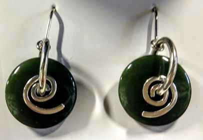Earrings Greenstone Silver Koru