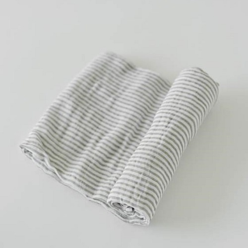 Cotton Swaddle | Grey Stripe