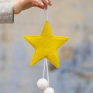 FELT STARS WITH POM POMS - SULPHUR FLOWER