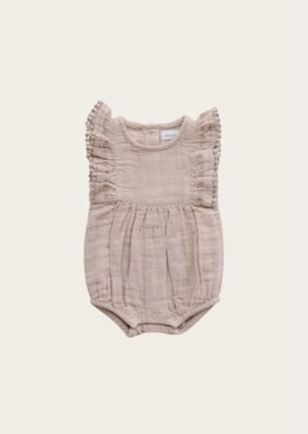ORGANIC COTTON MUSLIN STELLA PLAYSUIT - ROSE DUST
