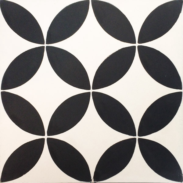 Handmade Tile | Black Almond Flowers Mosaic