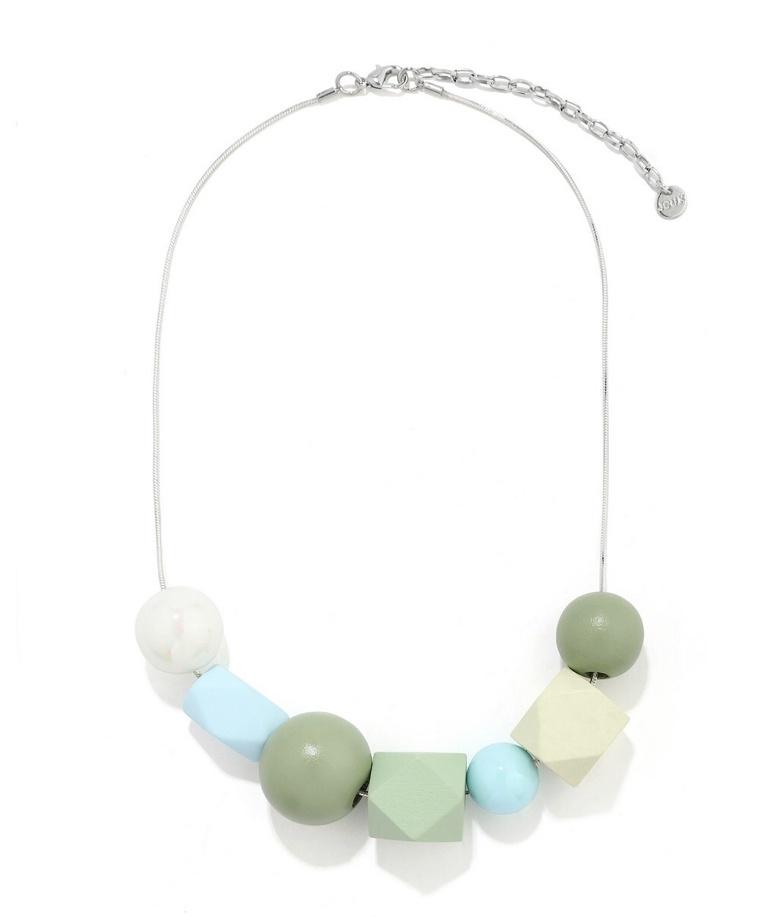 Multi green geo necklace