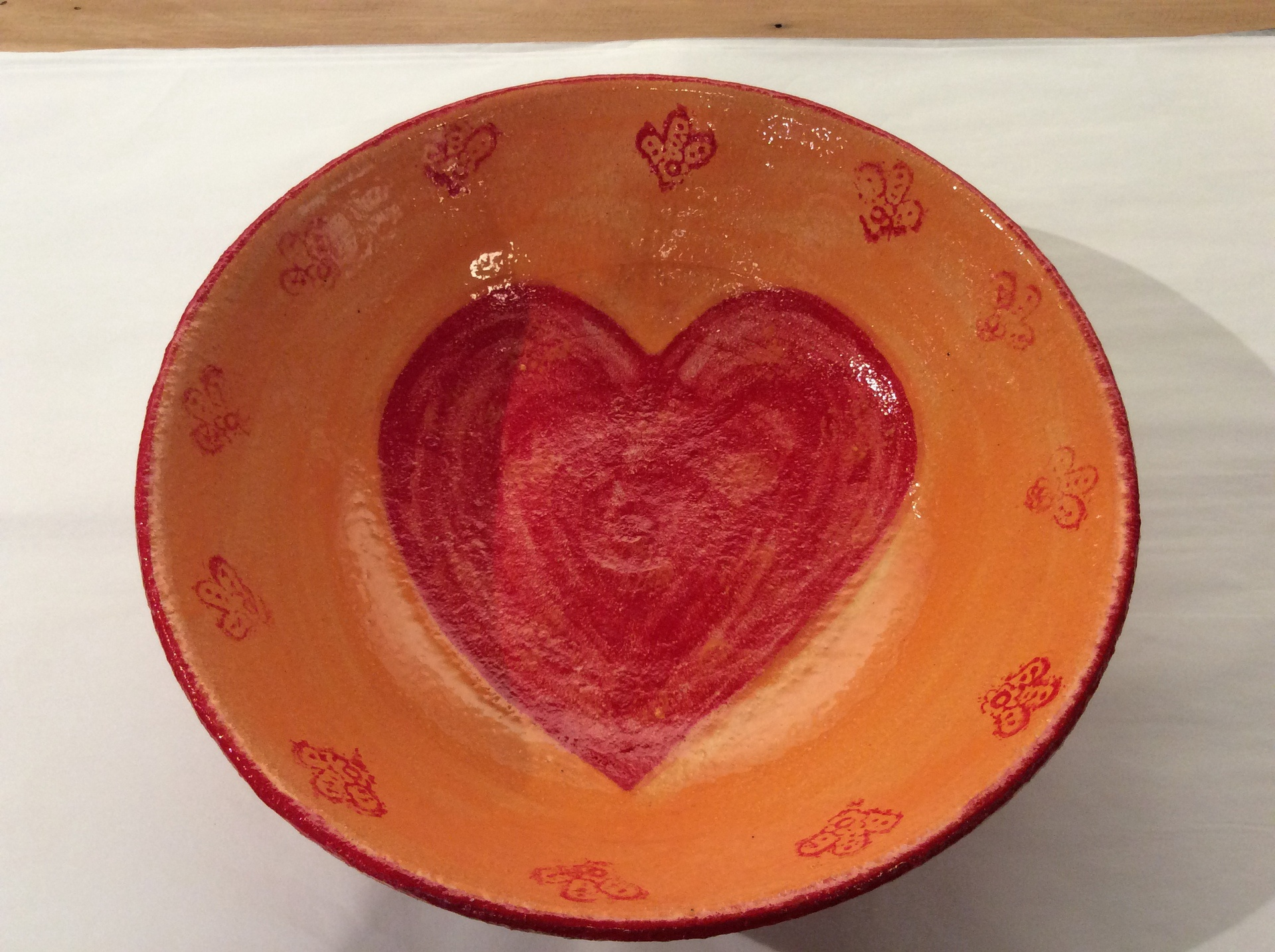 Orange with red heart bowl