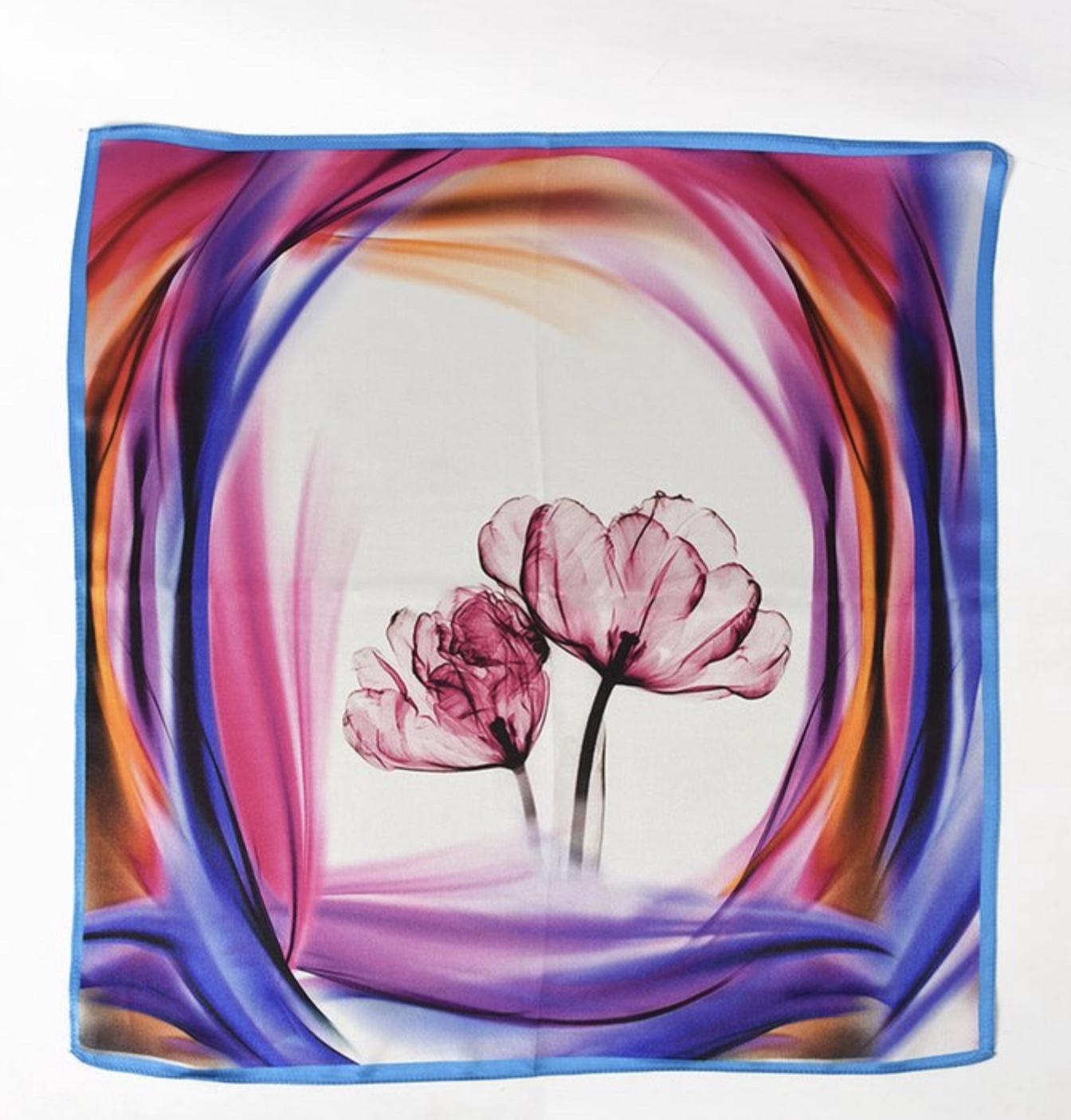 Silk Blue Tulip Scarf