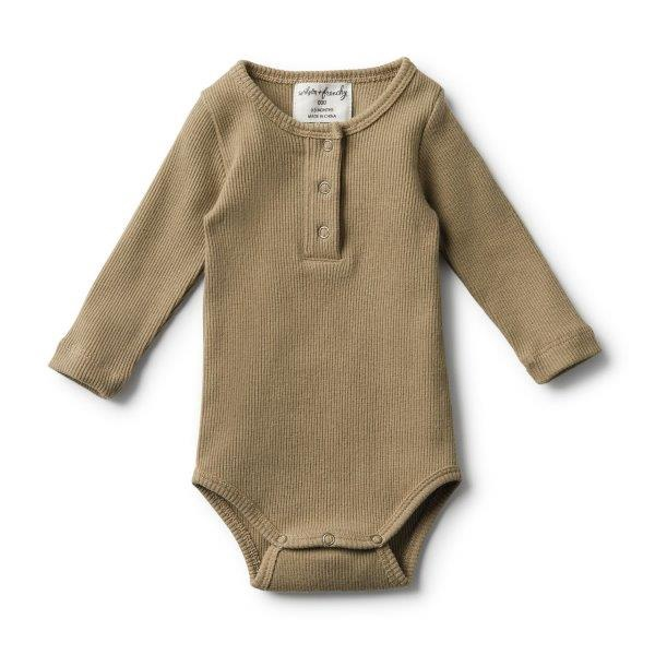 WF OLIVE RIB LONG SLEEVE BODYSUIT