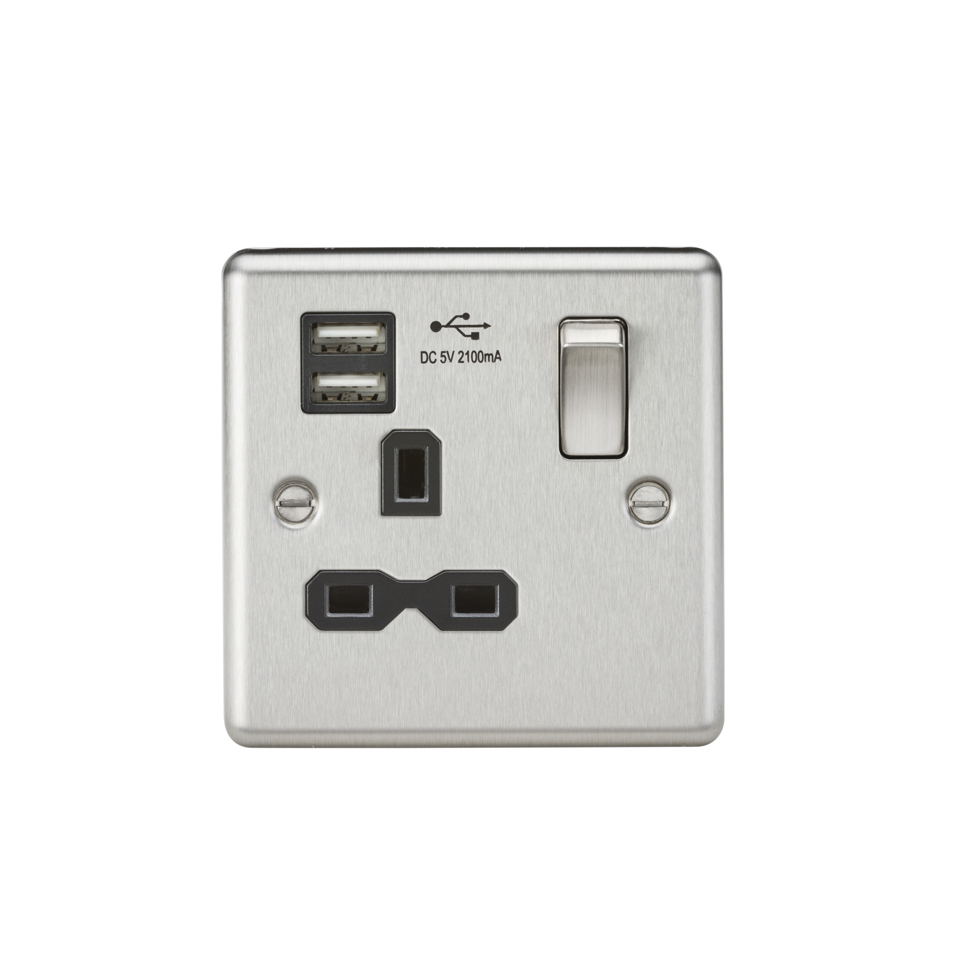 13A 1G SWITCHED SOCKET, DUAL USB CHARGER SLOTS W/BLACK INSERT - ROUNDED EDGE BRUSHED CHROME