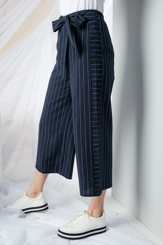 Navy Stripe Wide Leg Linen Pant with Tie