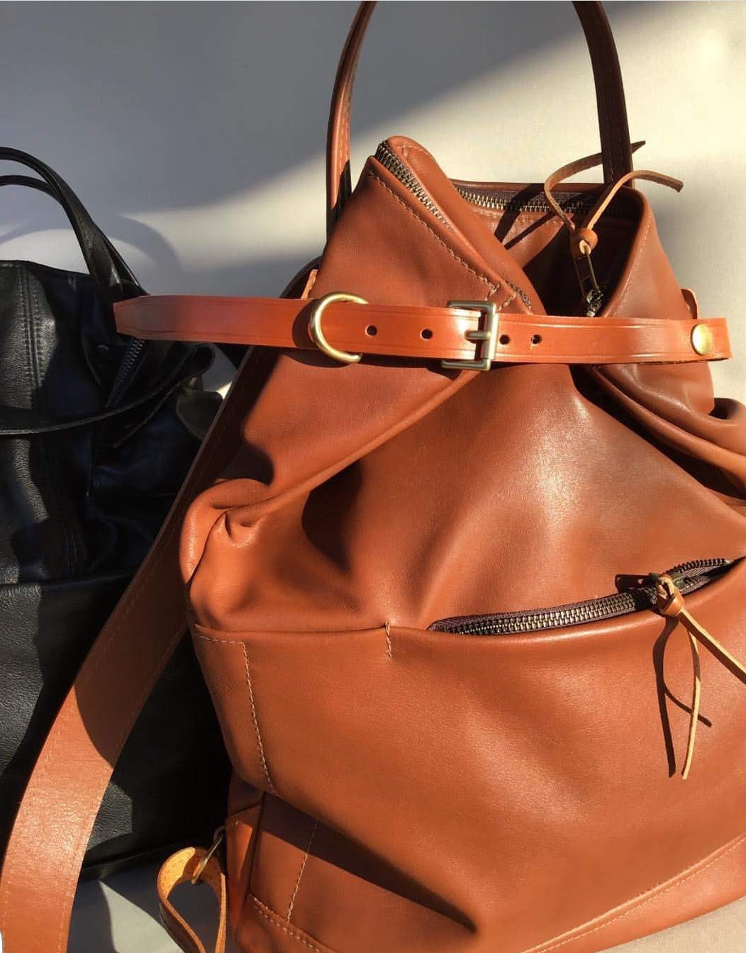 Spanish Leather Back Pack - tan