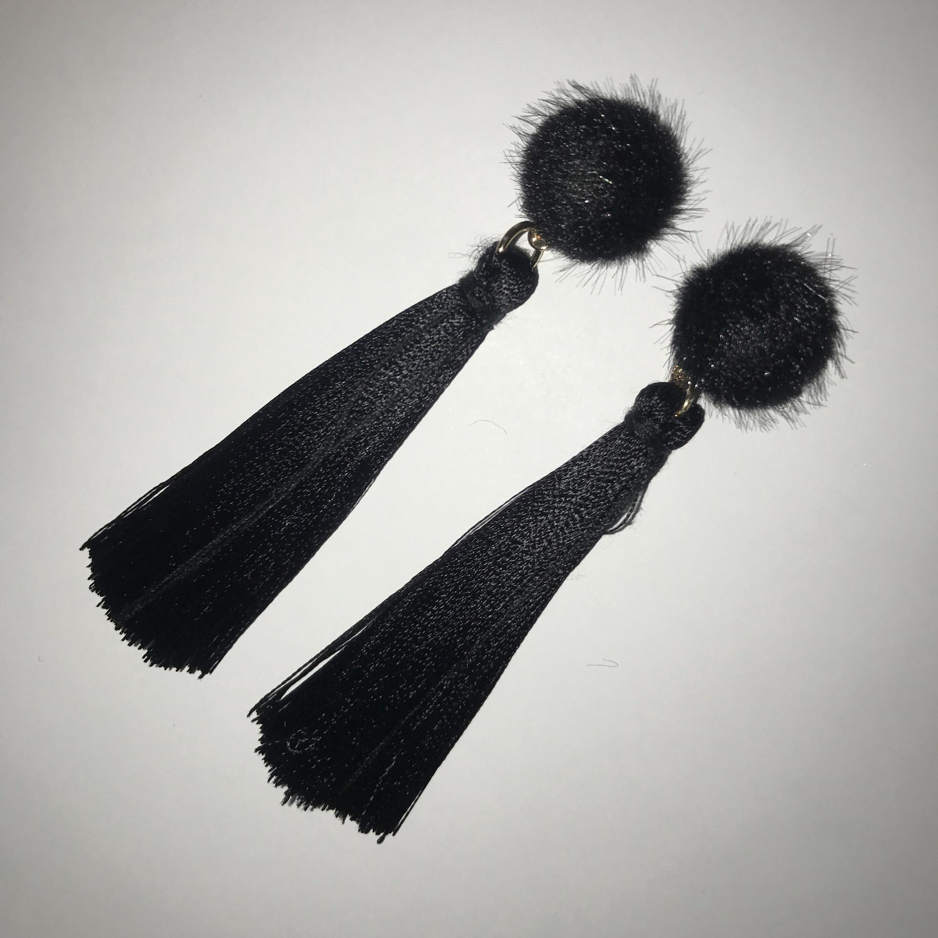 Faux Fur Tassel Earrings