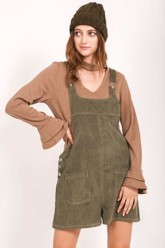 Olive Cord Overall Shorts