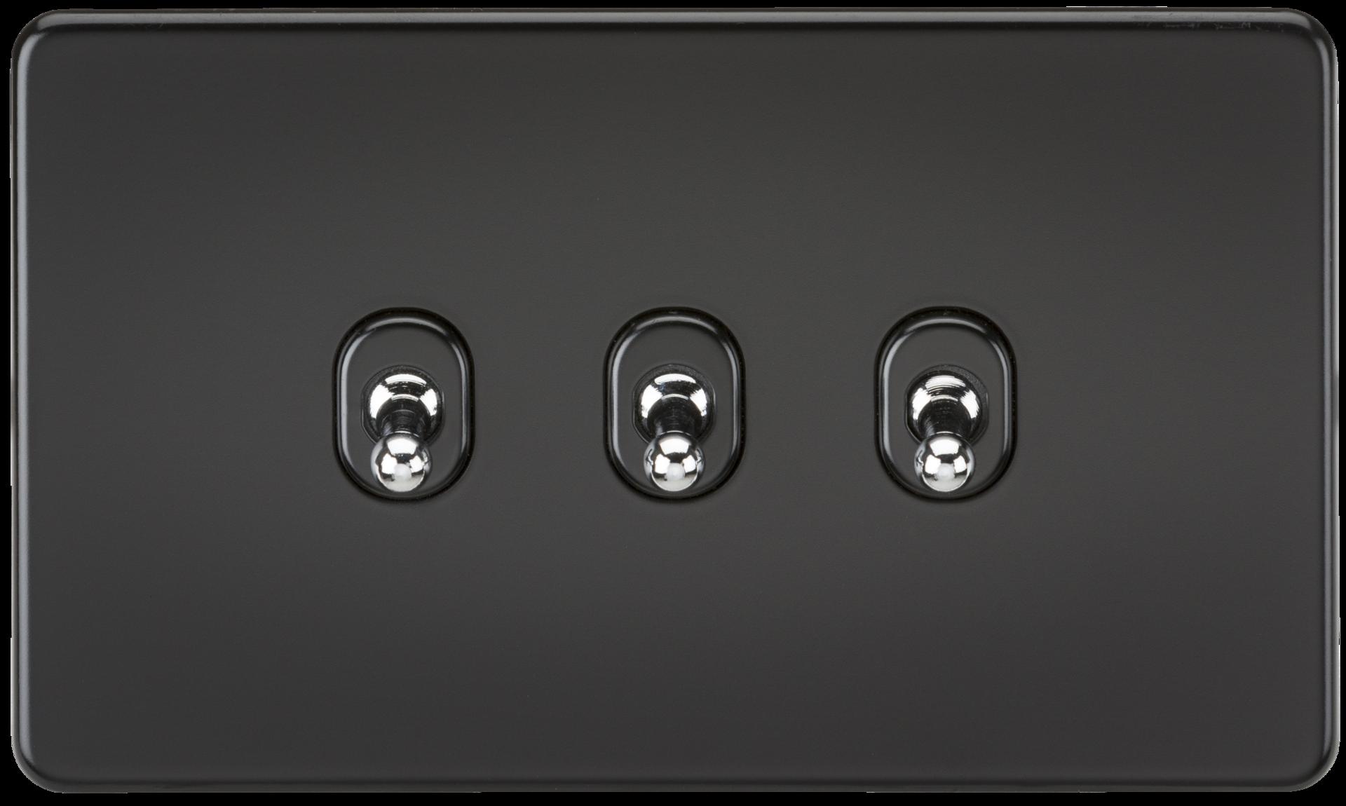 SCREWLESS 10A 3G 2 WAY TOGGLE SWITCH - MATT BLACK