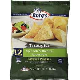 Borgs Frozen Spinach & Cheese Triangles 360g