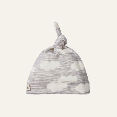 MERINO KNOTTED BEANIE - CLOUD PRINT