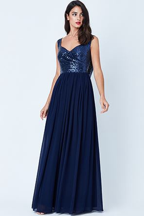 Floor Length Gown - Navy Cowl Back Sequin and Chiffon Maxi Dress, NEW