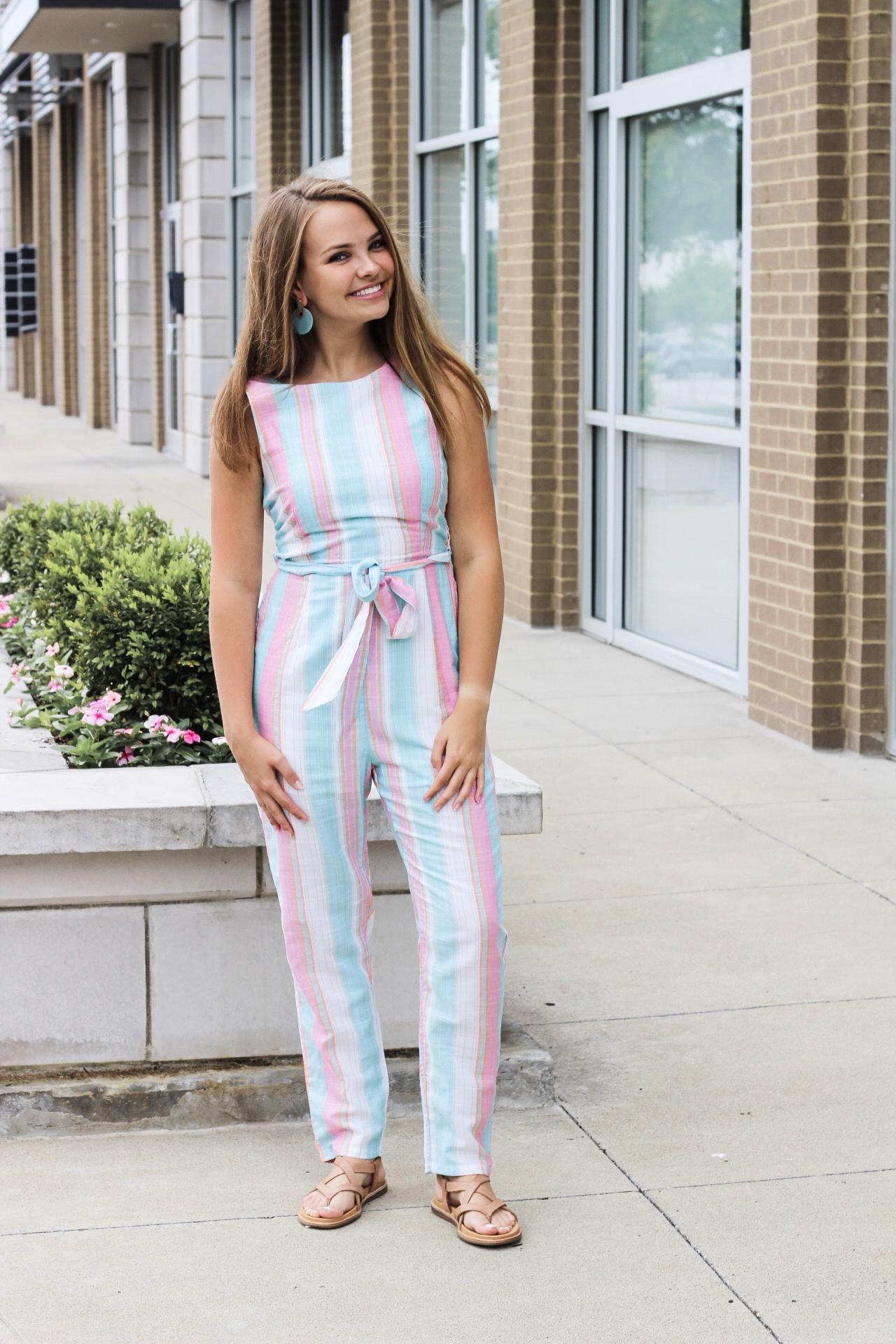 Teal/Pink Striped Jumpsuit w/ Wrap Tie Waist