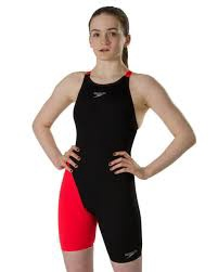 Girls Endurance+ Openback Kneeskin Black/Lava Red