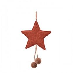 FELT STARS WITH POM POMS - CORAL/QUARTZ PINK