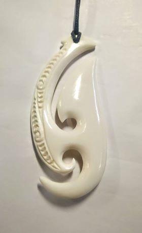 Bone Matau (Hook) & Koru 90mm
