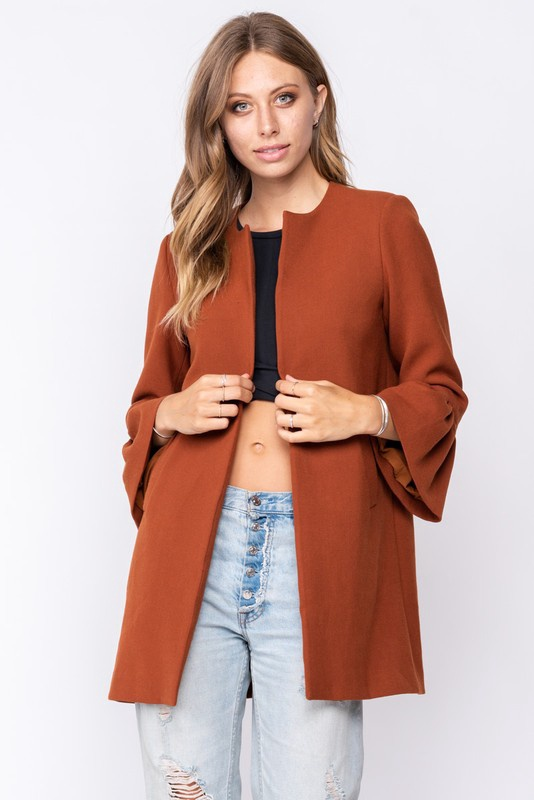 Bell Slv Open Coat w Pockets