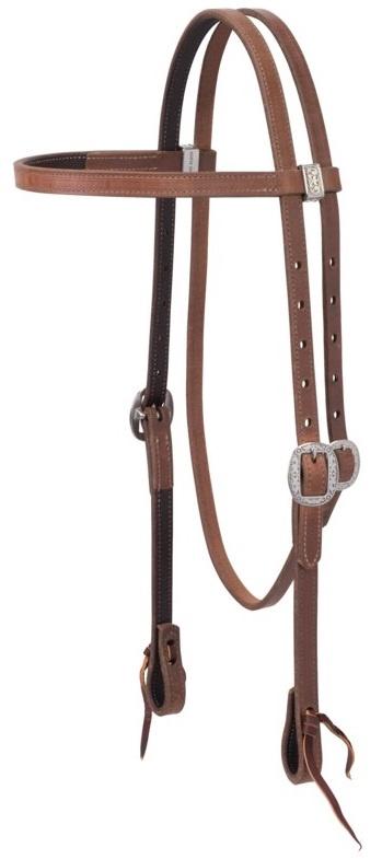 Weaver Latigo Leather Lined with Floral Designer Hardware Headstall