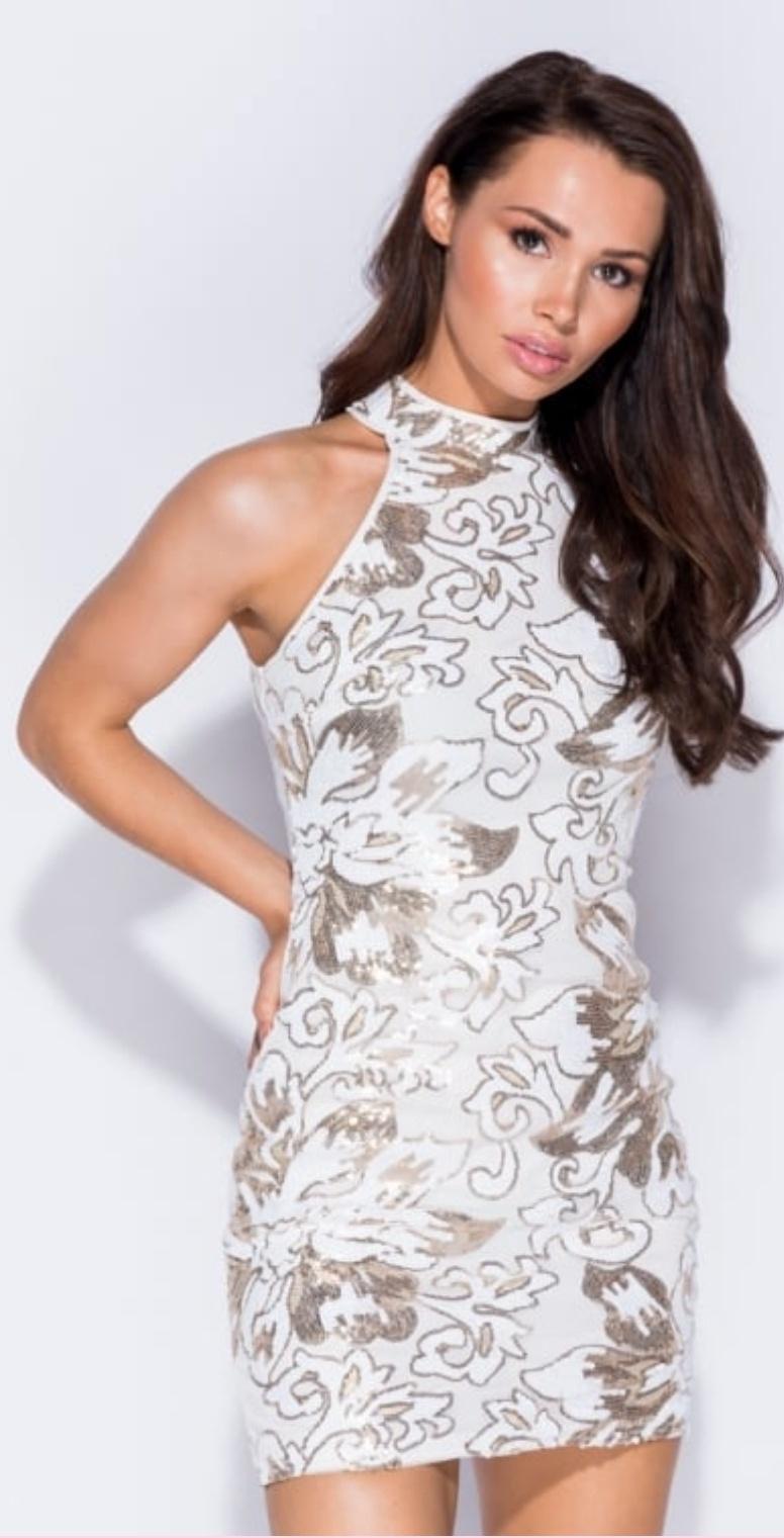 White/gold sequin sleeveless bodycon short dress
