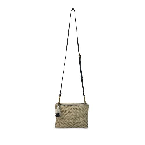 Woven Butter & Chalk Crossbody Bag